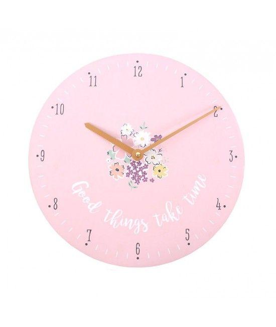 Ceas pentru perete cu design floral, inscriptionat cu textul: Good things take time  #cadouri #nunta  #casa #noua