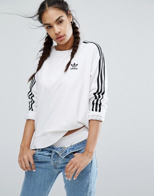 adidas Originals White Three Stripe Sweatshirt