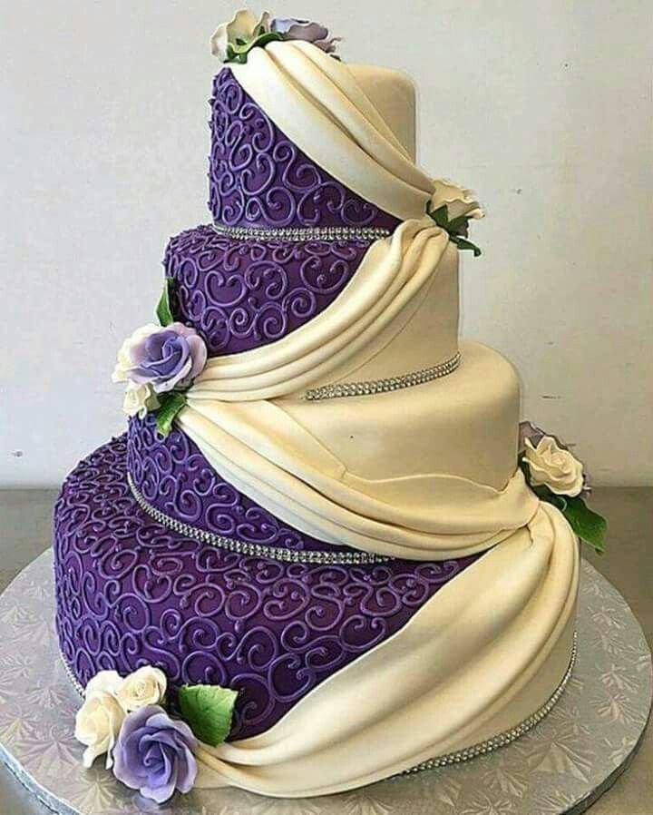Purple Lace and White Ruffled Wedding Cake by Cakes and Cupcakes l #weddingcakes
