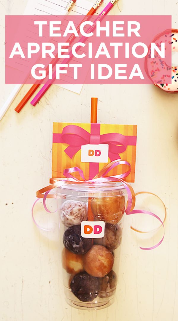 A sweet treat for the best teacher! Show your appreciation this year with an extra sweet gift card DIY. Simply fill a Dunkin' cup with munchkins' and top it with a gift card! Go to DunkinDonuts.com to start gifting.