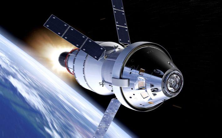 Download Wallpaper satellite, orbit, open space, earth, modern technologies, 4k
