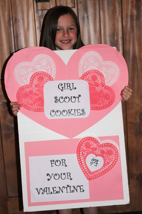 I like this sign! ...one year our troop sold at a booth sale on Valentines day and wrapped each box in a dollar store valentine cellophane goody bag. It was a big hit!  This sign would be a great advertisement!