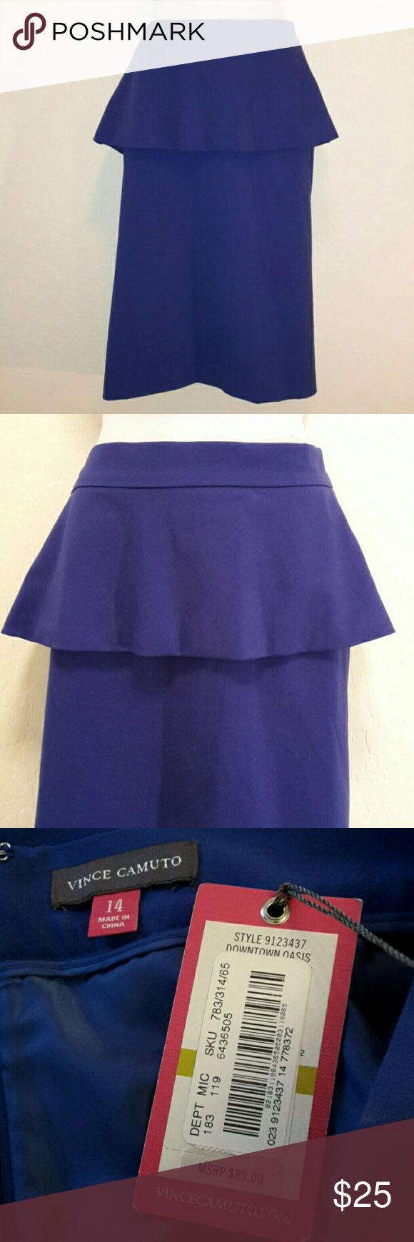 NWT Vince Camuto Royal Blue Peplum Skirt Gorgeous Color, Stretch, Back Zipper, Knee Length. Skirts