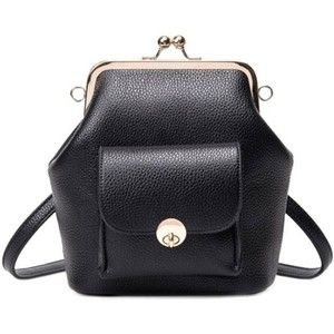 Trendy PU Leather and Kiss Lock Design Backpack For Women