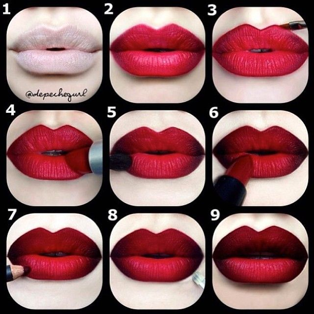 "Red & Black Double Ombre Pictorial by the amazing @Christina Childress Childress Childress Childress Childress Childress Parga ❤️ 1⃣PRIME LIPS & apply concealer on and around lips [Mac Studio Fix Concealer] USE A LIPLINER AS a base on lips [MAC ""Cherry"" Lipliner] with NYX ""Dark Red"" Lipliner in the outer corners."