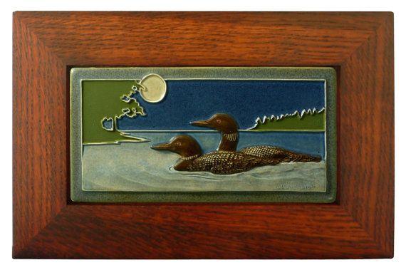 Ceramic sculpture,Framed Moonlight Swim, Loon pair, relief tile