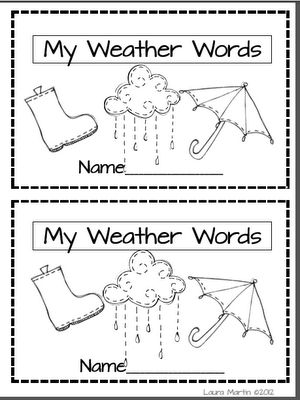 Weather Word Book: Work, Kindergarten Weather Unit, Booklet Freebie, Http Learn Spanish Online Tk, First Grade, Learning Spanish