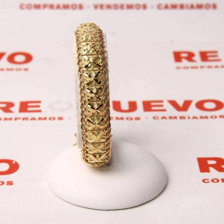 Pulsera ancha de oro de 18 kts. E267514 #joyaría #joya #oro #pulsera