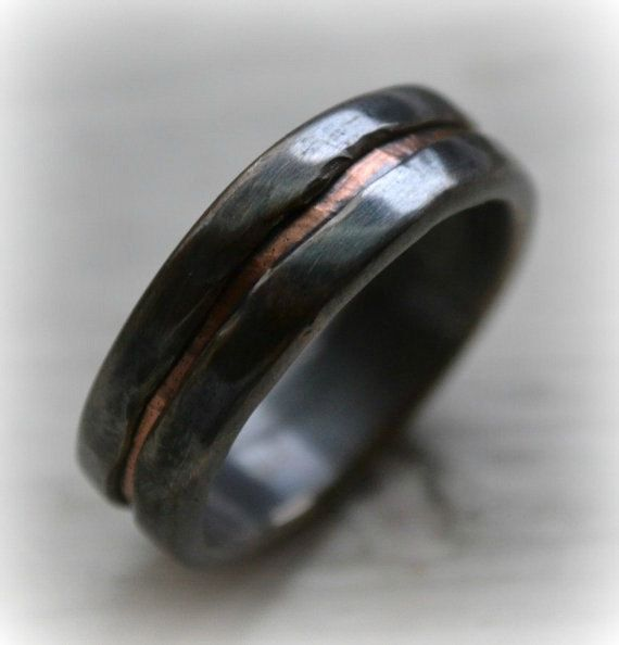 mens wedding band - rustic fine silver and 14k rose gold ring - handmade oxidized artisan designed wedding or engagement band - customized on Etsy, $945.00