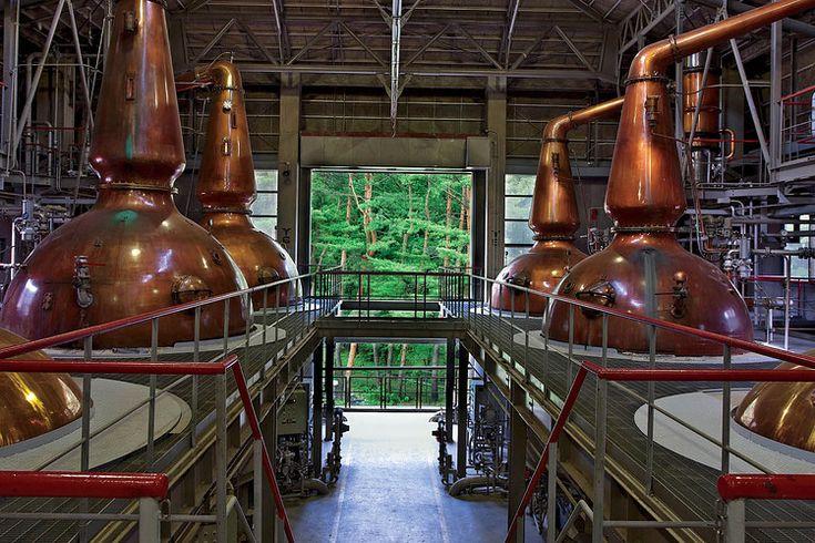 Copper pot stills in the Hakushu distillery