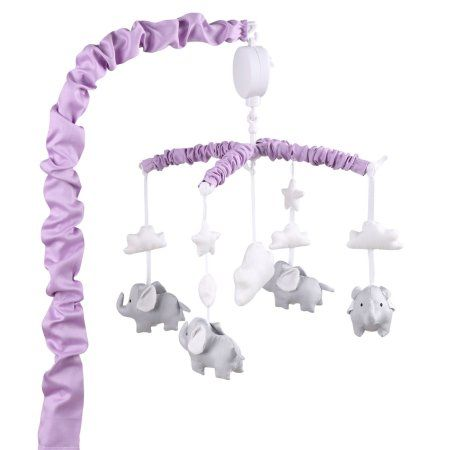The Peanut Shell Musical Crib Mobile - Purple with Grey Elephants, Clouds and Stars - Fits Most Standard Size Cribs
