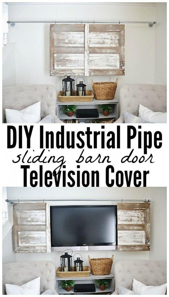 Industrial Pipe Sliding Barn Door TV Cover