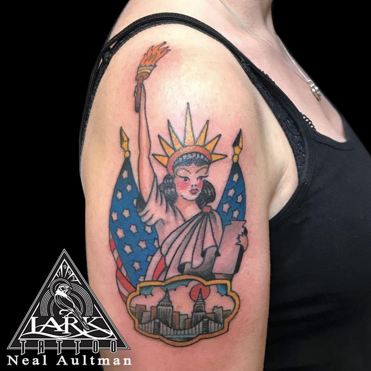 Tattoo by Lark Tattoo artist Neal Aultman. See more of Neal's work here: http://www.larktattoo.com/long-island-team-homepage/neal-aultman/ . .  .  .  . #colortattoo #traditionaltattoo #statueofliberty #statueofliberty #NYC #NYCtattoo #USA #USAtattoo #flagtattoo #tattoo #tattoos #tat #tats #tatts #tatted #tattedup #tattoist #tattooed #inked #inkedup #ink #tattoooftheday #amazingink #bodyart #tattooig #tattoosofinstagram #instatats  #larktattoo #larktattoos #larktattoowestbury #westbury