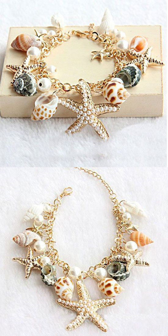 so unique bracelet ! Conch Starfish Summer Beach Bracelet for big sale! #beach #bracelet #starfish #conch