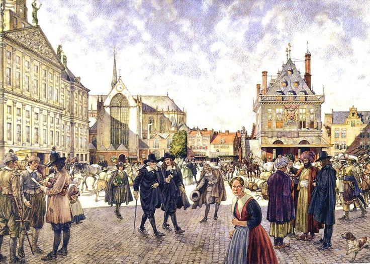 Historical School Poster showing the Dam in Amsterdam, at the year 1666.  Historische schoolplaat die ons de Dam in Amsterdam laat zien in het jaar 1666| Schoolplaat Isings