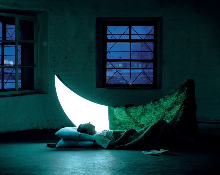 'private moon', 2002-2005  images courtesy leonid tishkov & boris bendikov   'like a lunar unicorn  under the covers she  shines even brighter'