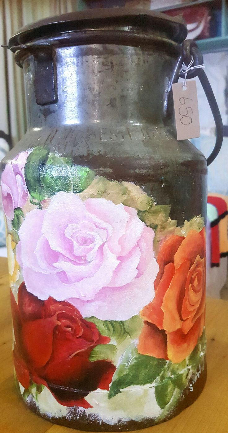 Roses on milk can, acrylic