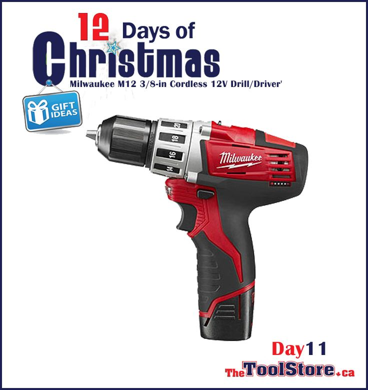 #12DaysofChristmas from @onlinetoolstore - DAY11 - Milwaukee M12 3/8-in Cordless 12V Drill/Driver up to 35% faster with the only tool in its class that has an all-metal locking chuck.