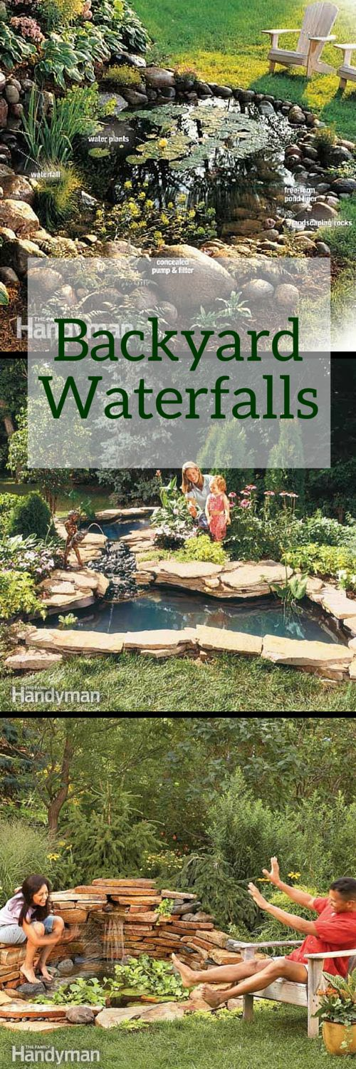 Add some tranquility to your landscaping with one of these backyard waterfalls. http://www.familyhandyman.com/landscaping/backyard-waterfalls
