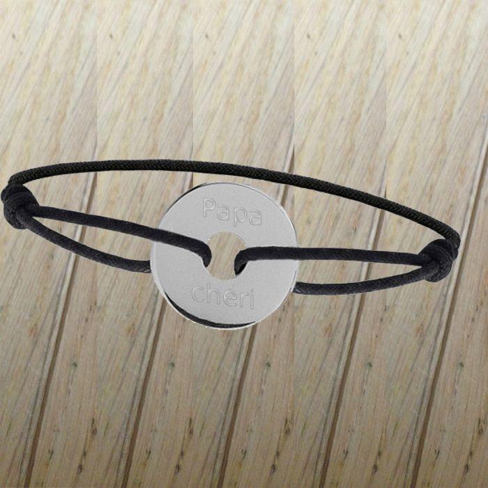 Bracelet homme gravé et personnalisé en argent avec prénom ou message papa chéri