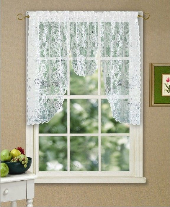 Find More Curtains Information about white or beige knitted polyester rose lace curtains valance with rod pocket 60x38inch M style beauty lace curtains in spring ,High Quality curtain rod,China curtain cutting Suppliers, Cheap curtains wholesalers from Hangzhou Jinhui Knitting Co.,LTD on Aliexpress.com