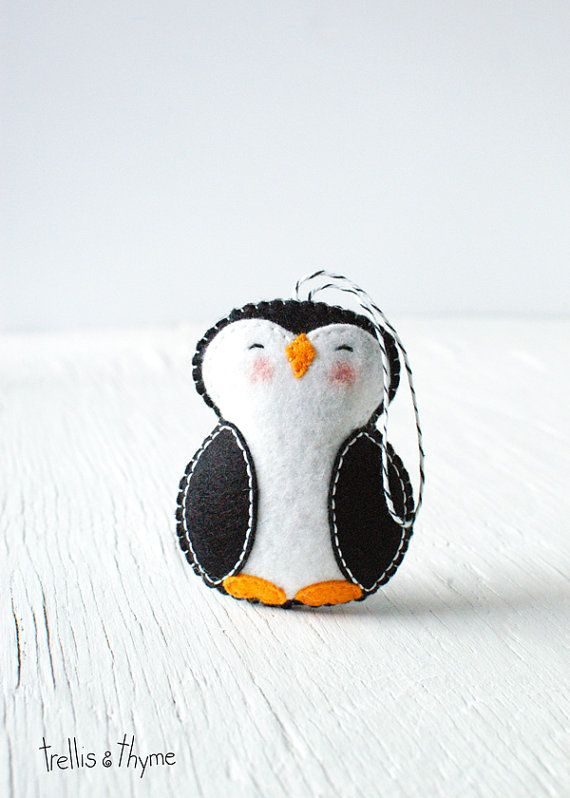 PDF Pattern Little Penguin Winter Felt Ornament door sosaecaetano