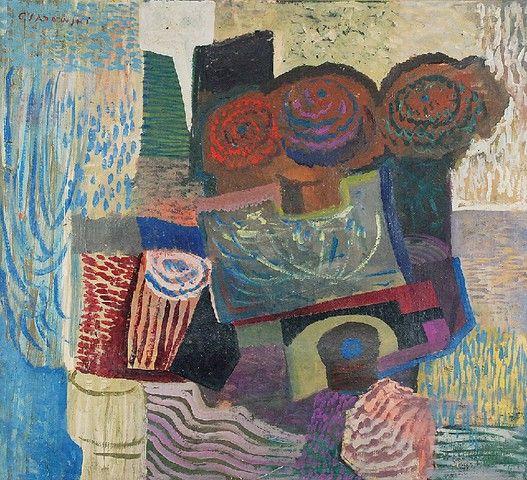 CZESŁAW SADOWSKI (1902-1959)  Martwa natura z kwiatami olej, płótno; 65,5 x 73,5 cm;