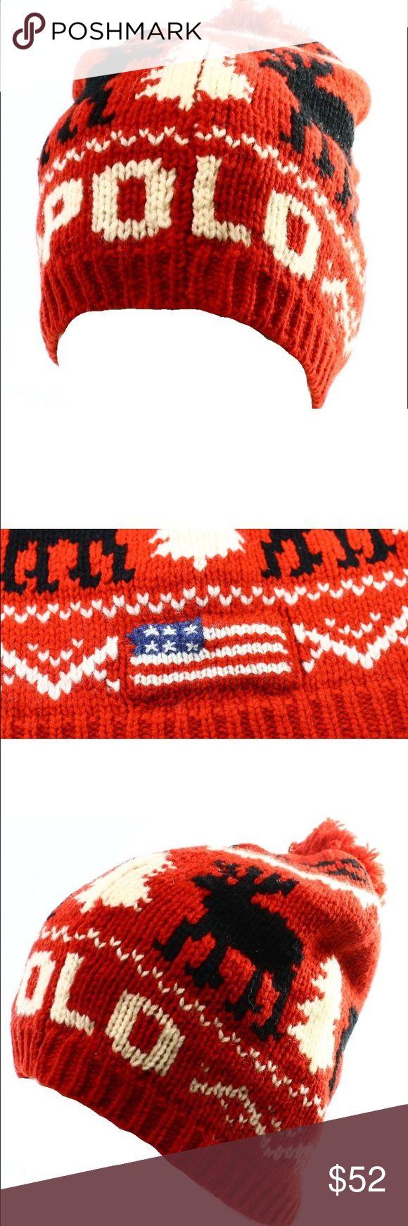 POLO RALPH LAUREN  Jacquard Pom Beanie Wool BRAND NEW POLO RALPH LAUREN Red Holiday Jacquard One Size Pom Beanie Wool by Polo Ralph Lauren Polo by Ralph Lauren Accessories Hats