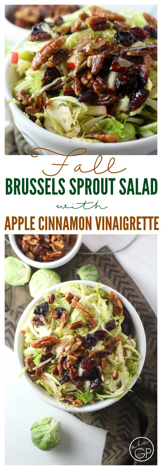 Shredded Brussels sprout salad with apple slices and maple pecans topped with a dreamy Apple Cinnamon Vinaigrette. #ad #StoredBrilliantly