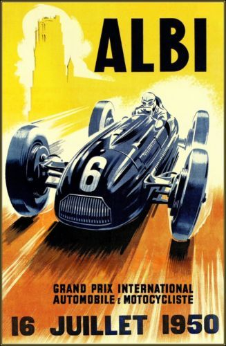 Grand Prix d' Albi 1950 Vintage Poster Art Print Automobile Car Racing Monaco Midi-Pyrénées