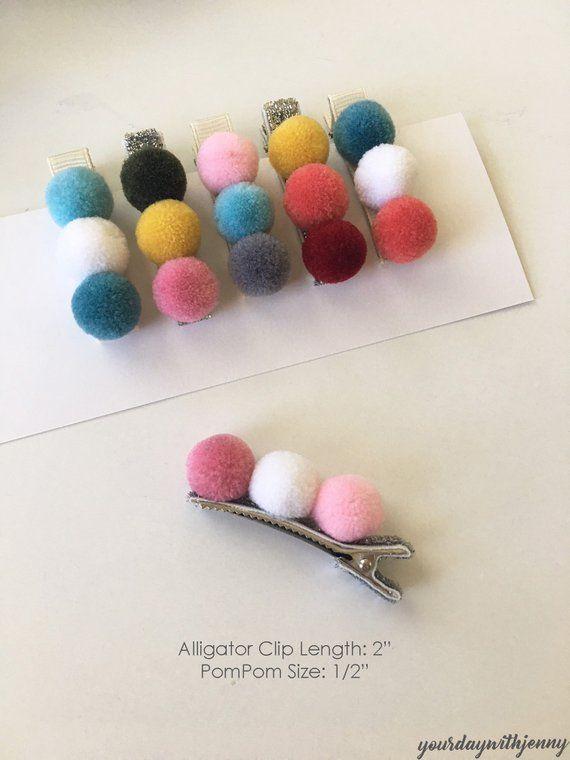 Pompom ribbon hairclips