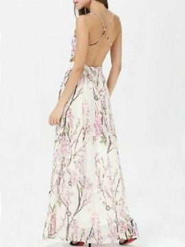 Sakura Print Spaghetti Strap Backless Maxi Dress