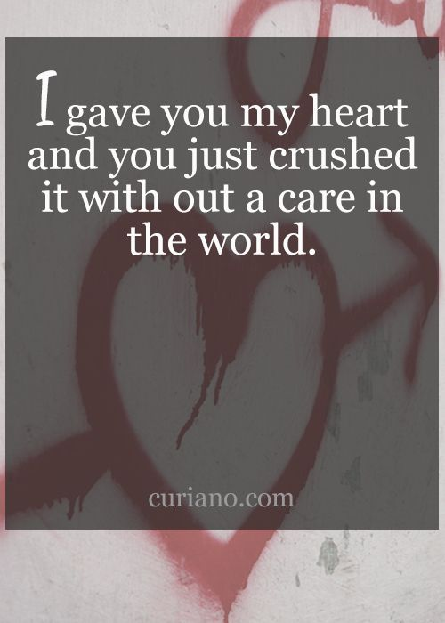 Having your heart crushed hurts... Sometimes we love with expectations... Sometimes people have ill intentions ... Understand your hurt and don't let it stop you from loving those people that need love... We all do