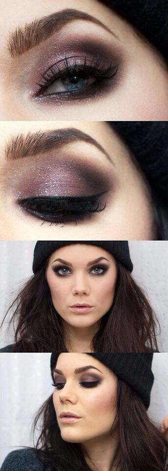 Shimmery taupey brown smoked out look - so pretty! I can never get mine to look that smudgey -.-'