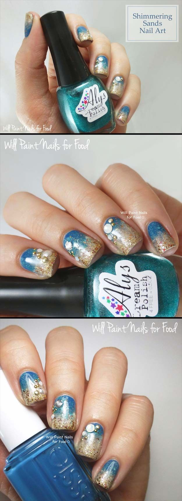 Nail Art Designs For Your Beach Vacation - Shimmering Sands Nail Art - Give Yourself an Awesome New Style With One of These Manicures - Nailart with Palm Trees, Polka Dots, Sea Turtles and Designs For Just the Ring Finger - Blue China Glaze Designs and Toe Nail Art and Simple Glitter Pedicures - https://thegoddess.com/nail-art-designs-for-the-beach