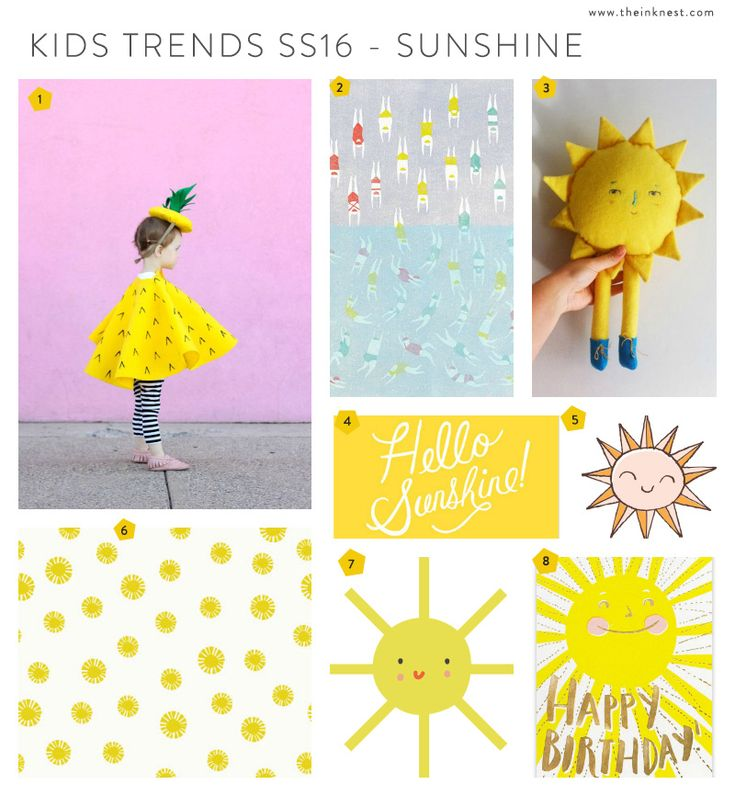 1. Delia Creates; 2. Jing Wei; 3. Evie Narrow; 4. Hello Sunshine Print; 5. The Garden - clip art set; 6. Hello Summer - pattern set; 7. Little Party - clip art set; 8. Happy Birthday card; The suns...