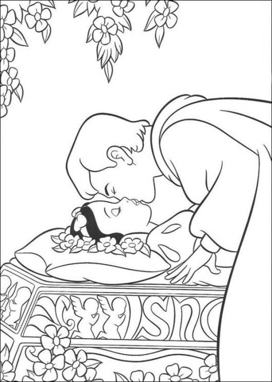 Prince Kissed the Princess Snow White Disney Coloring Page