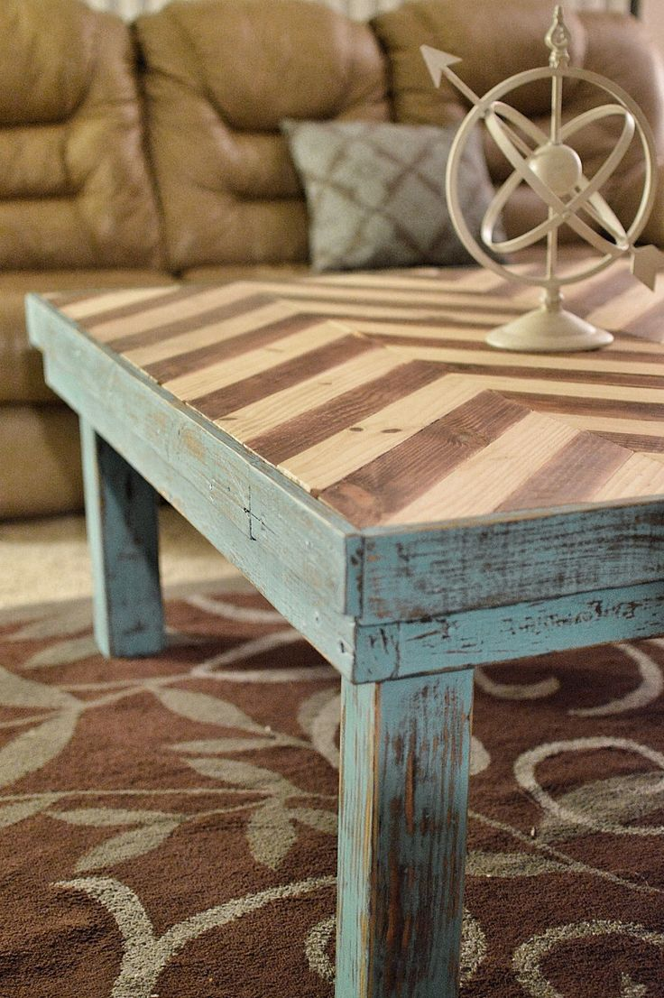 There is a dressing table mirror and lockers and drawersgalore - Chevron Table Top White And Wood Chevron Blue Coffee Table