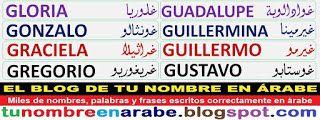 Letras arabes para tatuajes nombres: Gloria Gonzalo Graciela Gregorio
