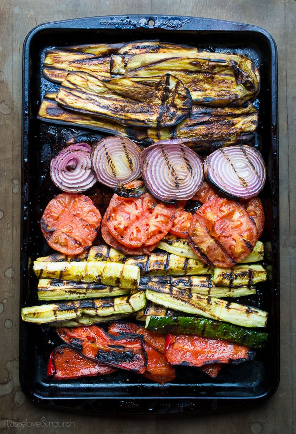 Food. Grilled ratatouille tartine. http://www.annabelchaffer.com/categories/Dining-Accessories/