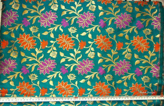 Teal Silk Jacquard fabric Homespun Brocade fabric by VedahDesigns