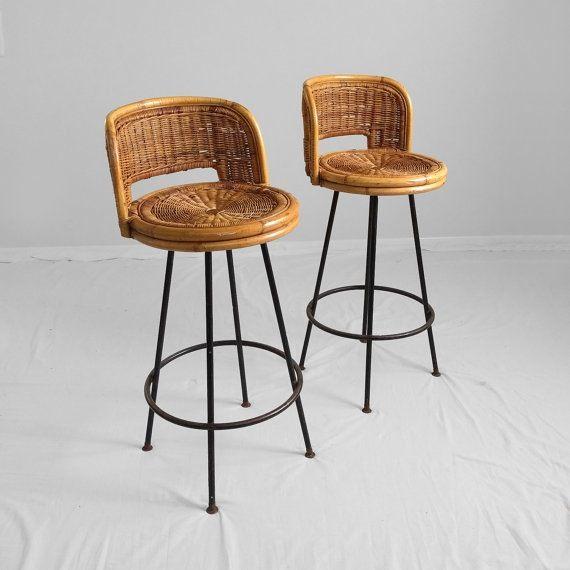 1970s mid century modern RATTAN bar stools —