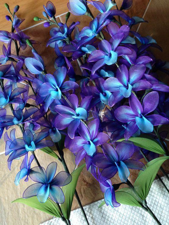 Purple And Blue Orchid Flowers Stem Nylon Flower Plant