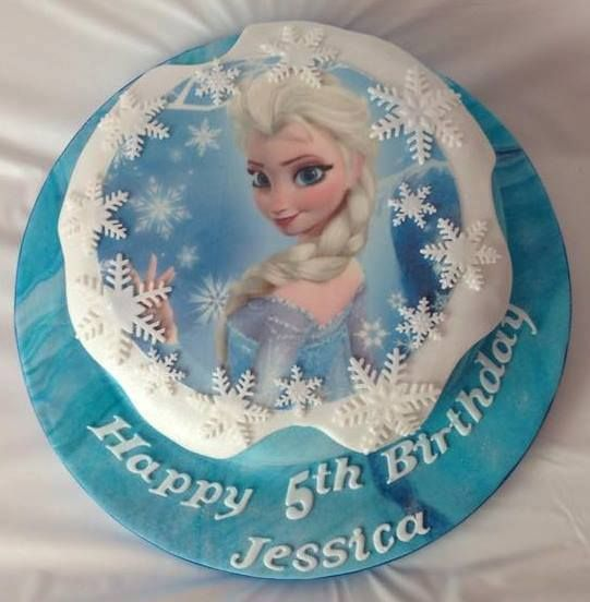 Elsa Frozen themed edible image cake decorated by Coast Cakes Ltd