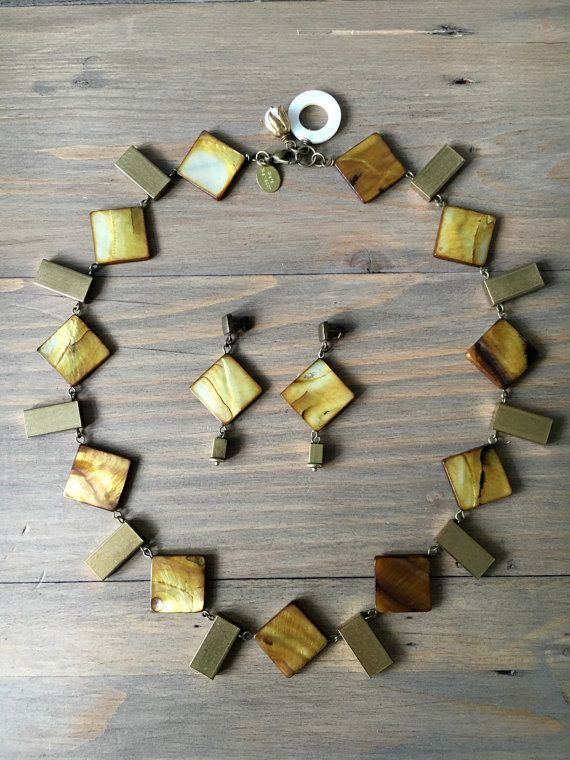 Brass and bronze mother of pearl squares set  by RafaPeinador