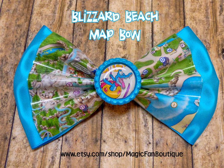 Disney Blizzard Beach Map Disney Bow-Walt Disney World Bow-Disney Water Park Hair Bow-Disney Accessories-Disney Barrette by MagicFanBoutique on Etsy
