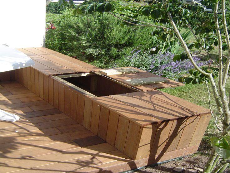 Banc - 29700 PLOMELIN - jardiniere banc teck