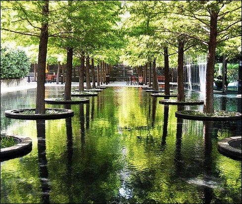 Fountain Place In Dallas Flowers Trees And One Of The Most Complex Water Fountains In The