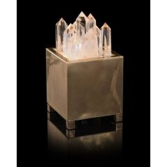Clear Quartz and Brass Box with Light