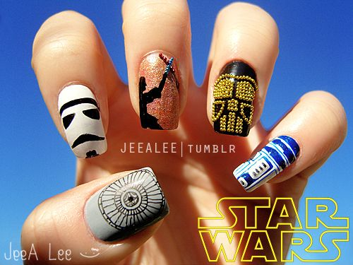 Nerdy Nail Designs: 30 Awesome Manis for Geek Goddesses: Geek, Nailart, Style, Star Wars Nails, Stars, Nail Designs, Nail Ideas, Nail Art, Starwars